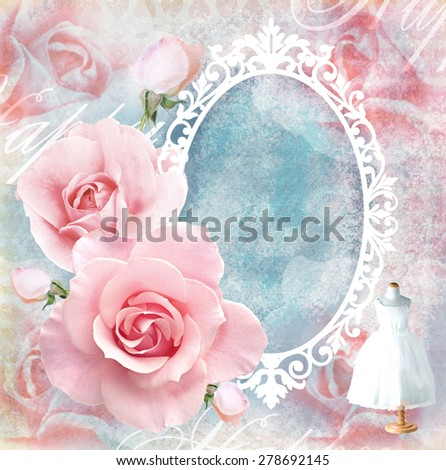 Holiday tender floral card with roses, mirror and text field. Wedding theme. Congratulation or invitation card in pink tones. Vintage Frame. - stock photo