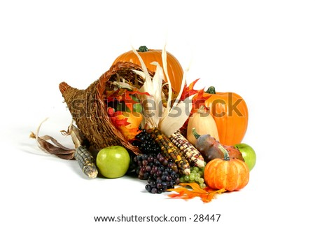 Holiday theme: Thanksgiving cornucopia - stock photo