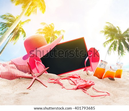 Holiday Time Summer Day Beach Accessories Sea Palm Sand Orange Juice Bikini Slippers Chalk Board Sea Star Art Collage Concept - stock photo