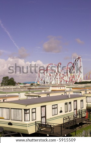 Holiday Trailer Park In The U.K. - stock photo