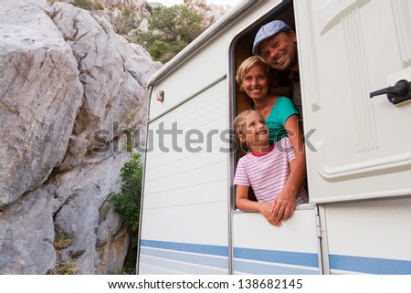 Holiday travel - family on camping - stock photo