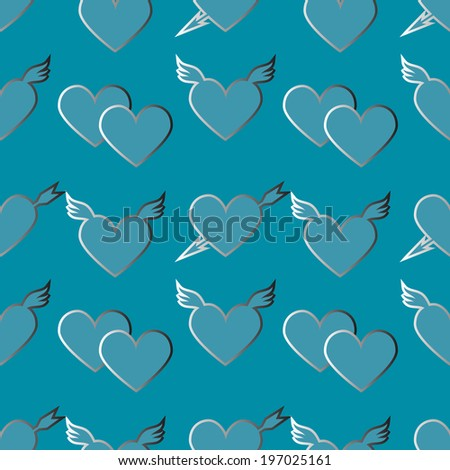 Holiday Valentines day seamless pattern with hearts - raster version - stock photo