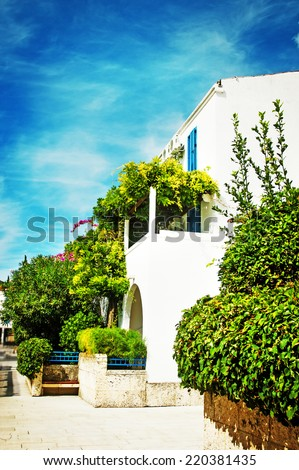 Holiday villas on a hot summers day. - stock photo