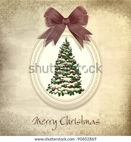 holiday, vintage, grungy Christmas background with Christmas tree and a bow (JPEG version) - stock photo