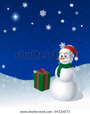 Holiday winter snowman and gift