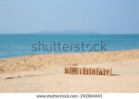 Holiday Word On Wood Rubber Stamps Stack The Sand Beach For Vacation And Summer Season