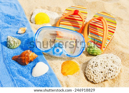 Holidays Background. Seashells and diving mask on the beach - stock photo