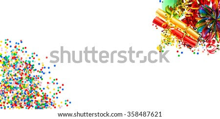 Holidays banner. Garlands, serpentine and confetti over white  background - stock photo