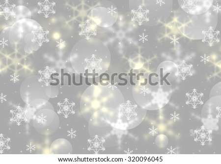 Holidays beautiful wallpaper with bokeh and blurred defocused snowflakes. Holiday greeting card concept. Magic Christmas lights sparkling snow background. Elegant gray winter Holiday postcard. - stock photo