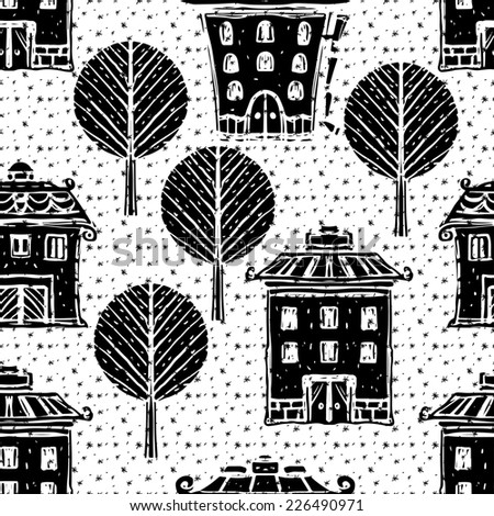 Holidays Christmas seamless pattern with trees, houses, snowflakes. Abstract winter ornament. Repeated background texture. Cloth design. Wallpaper - stock photo