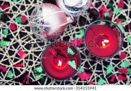 Holidays concept - New Year and Christmas decorations. Selective focus. Top view. - stock photo