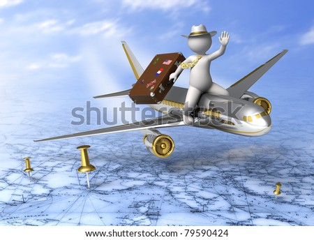 Holidays - 3d guy flying on a plane, carrying his suitcase - Tourism concept - stock photo