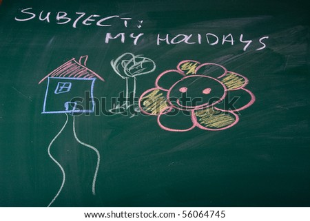 Holidays described on green chalkboard - stock photo