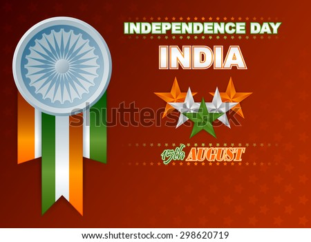 Holidays design background for National Celebration of India; Orange, white and green stars and Ashoka wheel on national flag colors for fifteenth of August, Indian Independence Day - stock photo