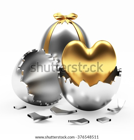 Holidays Easter. Love, joy and happiness. Silver Easter eggs with golden heart isolated on white background