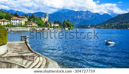 holidays in Italy - beautiful villages of Lago di Como, Tremezzina - stock photo