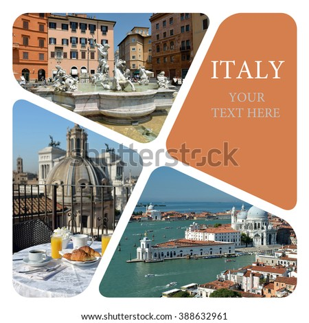 Holidays in Italy. Italy. Rome. Venice. Travel photo collage - stock photo