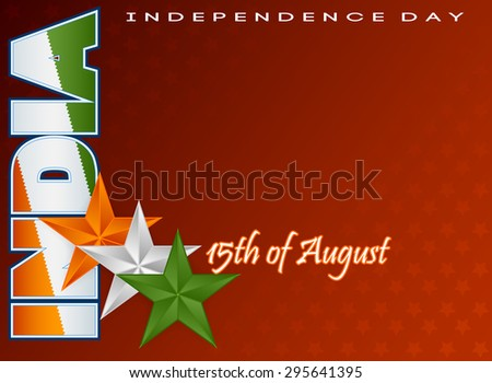Holidays layout template with National flag colors of India; Orange, white and green stars on national flag colors for fifteenth of August, Indian Independence Day - stock photo