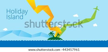 Holidays sea landscape. Flat illustration. - stock photo