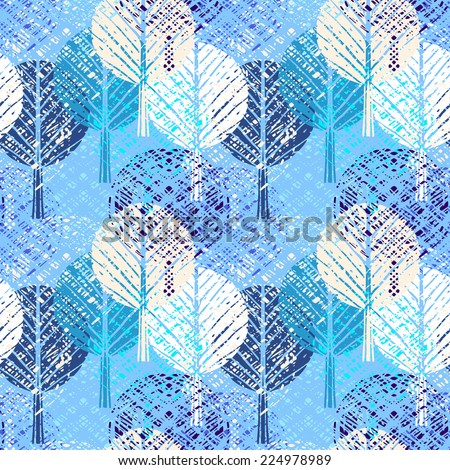 Holidays seamless pattern with Christmas trees. Abstract winter ornament. Repeated background. Nature print texture. Cloth design. Wallpaper - stock photo