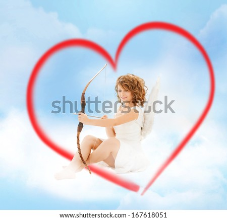 holidays, valentines day and costumes concept - happy teenage angel girl with bow and arrow - stock photo