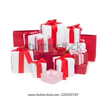 holidays, winter, birthday and celebration concept - christmas presents - stock photo