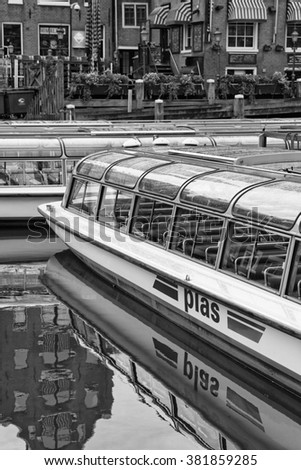 Holland, Amsterdam; 9 October 2011, ferryboats in a canal near the Central Station - EDITORIAL