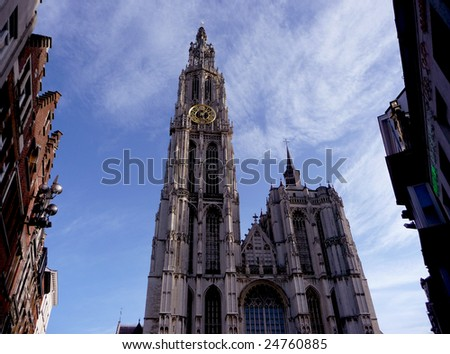 Holland, Antwerp, cathedral of  Mother of god against blue sky
