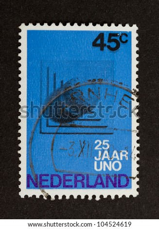 HOLLAND - CIRCA 1970: Stamp printed in the Netherlands shows a national building, circa 1970