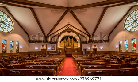 HOLLAND, MICHIGAN - MAY 12: Interior of the Hope Church on May 12, 2015 in Holland, Michigan - stock photo
