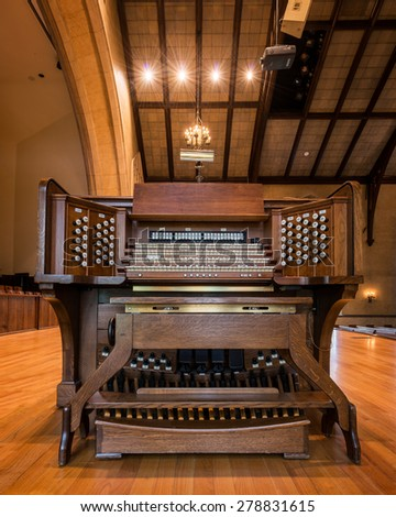 HOLLAND, MICHIGAN - MAY 13: Organ in the Dimnent Memorial Chapel on the campus of Hope College on May 13, 2015 in Holland, Michigan - stock photo