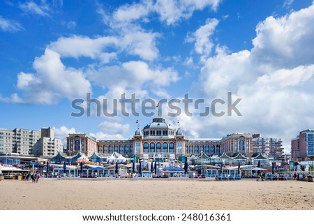 HOLLAND-SCHEVENINGEN-AUG. 23, 2014. Steigenberger Kurhaus Hotel. Built between 1884 to 1885 designed by German architect Johann Friedrich Henkenhaf and Friedrich Ebert, overlooking the North Sea. - stock photo