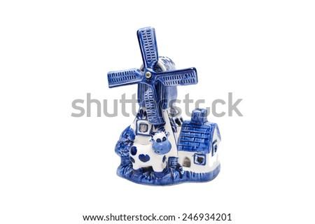 Holland Vintage Blue Delft Porcelain Windmill souvenir - stock photo