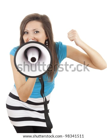 hollering young woman with megaphone, white background