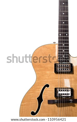 Hollow body electric guitar isolated on white background - stock photo