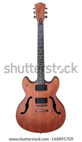 Hollow body natural wooden electroguitar with humbackers - stock photo
