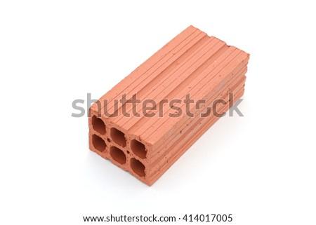 Hollow brick isolated on white - stock photo