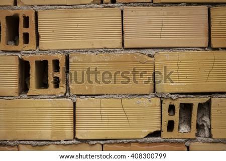 Hollow brick wall close up - stock photo