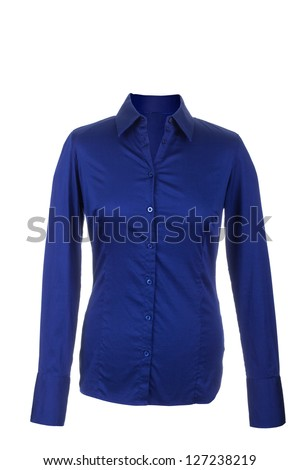 Hollow Female blue blouse with long sleeves, isolated on white background - stock photo