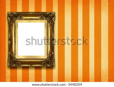 hollow gilded picture frame on retro background - stock photo