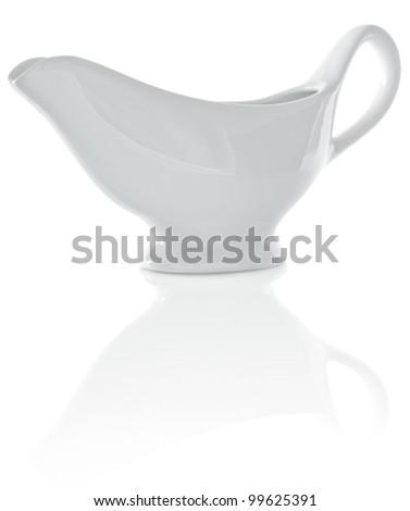 hollow porcelain sauceboat isolated on white background - stock photo