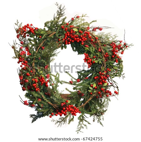 Holly Berry and Pine Christmas Wreath to celebrate the holiday season or use as stationary to send a holiday greeting! - stock photo