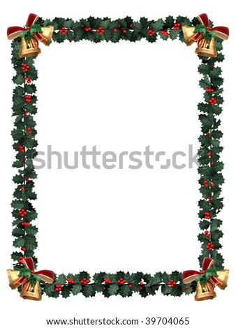 Holly garland border with gold bells on a white background with letter sized aspect ratio - stock photo