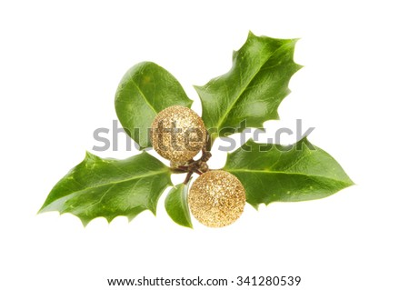 Holly leaves with gold glitter Christmas baubles as berries isolated against white - stock photo