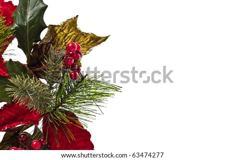 Holly sprig with red, green and gold leaves on a white background  with copy space - stock photo