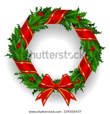 Holly wreath with a red ribbon isolated on white background. Contain the Clipping Path - stock photo