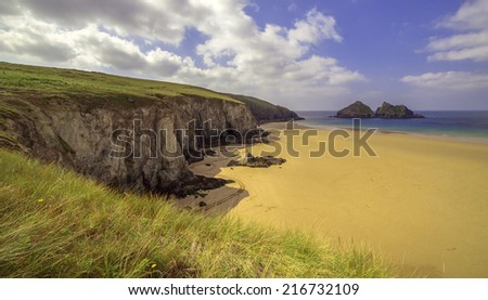 Hollywell Bay, Cornwall, England - stock photo