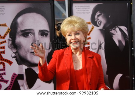 HOLLYWOOD - APRIL 12 2012: Actor Debbie Reynolds walks the red carpet for the opening of  the TCM Classic Film Festival at Grauman's Chinese Theatre April 12, 2012 Hollywood, CA. - stock photo