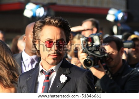 "HOLLYWOOD - APRIL 26: Actor Robert Downey, Jr at the premiere of the movie ""Ironman 2"" April 26, 2010 in Hollywood, California - stock photo"