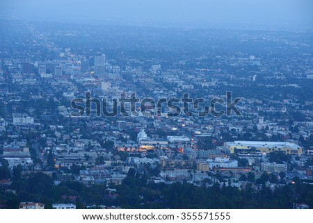hollywood area at night as seen from mountain - stock photo